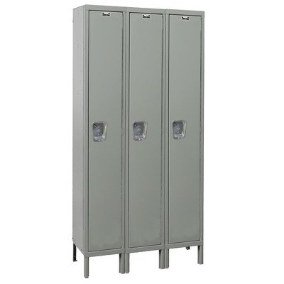 Hallowell UY3588-1A-HG Maintenance Free Quiet KD Metal Locker, Assembled, 3-Wide Grouping, 1 Tier, 72