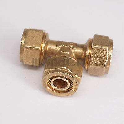 (Maslin 14x18mm IDxOD PEX-AL-PEX Tube Tee Brass Compression Pipe Fitting Connector for Floor Heating)