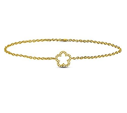 Or Jaune 14 ct Bracelet Diamant en forme de fleur, 0.06 Ct Diamant, GH-SI, 1.87 grammes.