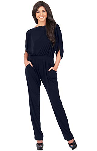 KOH KOH Petite Womens Short Sleeve Sexy Formal Cocktail Casual Cute Long Pants One Piece Fall Pockets Dressy Jumpsuit Romper Long Leg Pant Suit Suits Outfit Playsuit, Dark Navy Blue ()