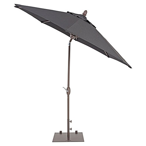 Patio Umbrella - TrueShade Plus Market Outdoor Umbrella with Sunbrella Fabric Auto Tilt and Crank Includes Storage Cover - Freestanding or Table Hole. - 9' Diameter Canvas Aruba