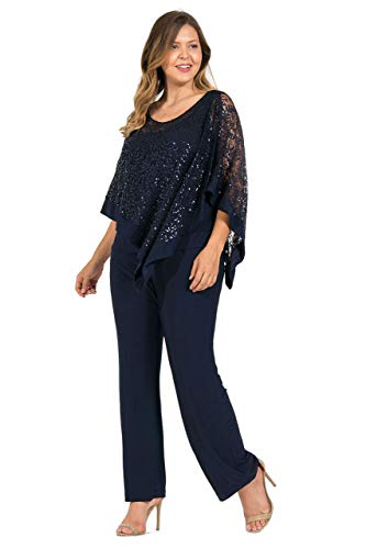 R&M Richards Plus Size Pant Suit Navy