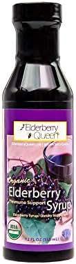 Organic Elderberry Liquid Syrup 12 oz by Elderberry Queen, Sambucus, Aronia Berry, Pure Natural Certified Organic Immune Support Herbal Supplement