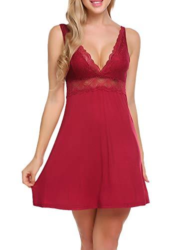Ekouaer Sexy Cotton Nightgown Short Lace Chemise Sleepwear for Women,Wine - Lace Cotton Chemise