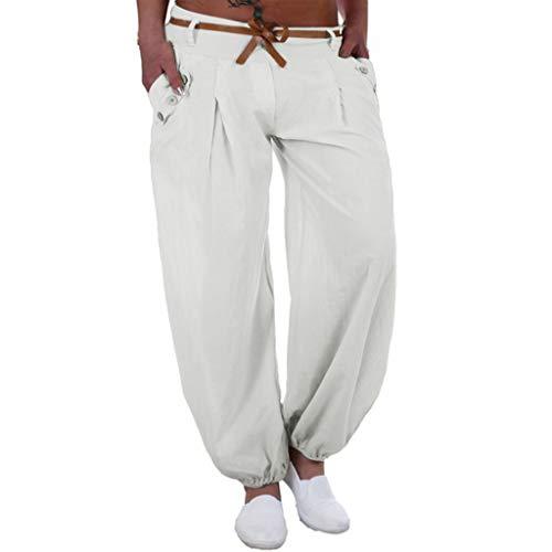 JOFOW Womens Pants Harem Solid Low Waist Trousers Cotton Linen Loose Comfy Straight Leg Yoga Long Ankle Bloomers Plus Size (L,Cream)