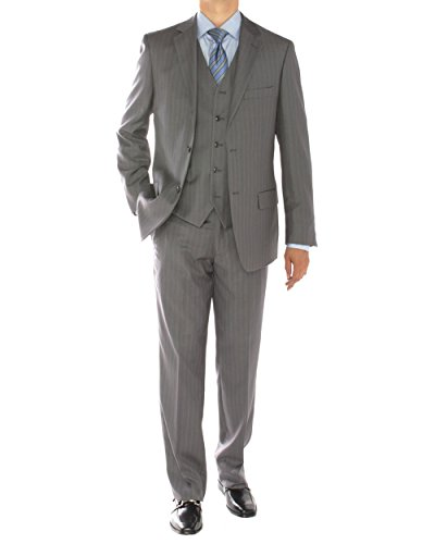 Valentino 2 Piece - Gino Valentino 3 Piece Men's 2 Button Jacket Flat Front Pants Vested Suit (46 Long US / 56L EU/W 40