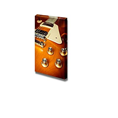 Electric Guitar Honey Burst Color on Floor with Knob Control Vintage Retro Style - Canvas Art Wall Art - 48