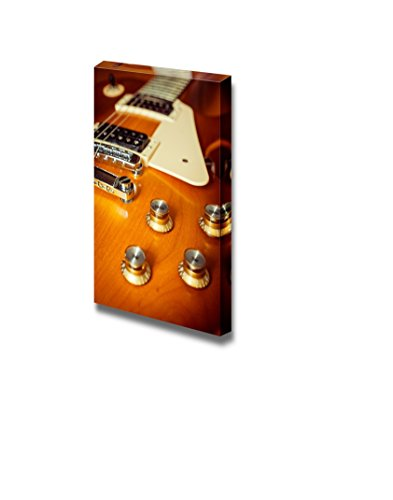Canvas Prints Wall Art - Electric Guitar Honey Burst Color on Floor with Knob Control Vintage/Retro Style | Modern Wall Decor/ Home Decoration Stretched Gallery Canvas Wrap Giclee Print & Ready to Hang - 36