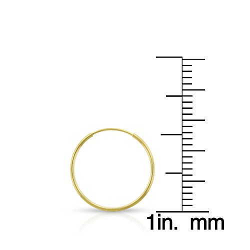 14k Yellow Gold Women's Endless Tube Hoop Earrings 1mm Thick 10mm - 20mm (14mm) by In Style Designz (Image #1)