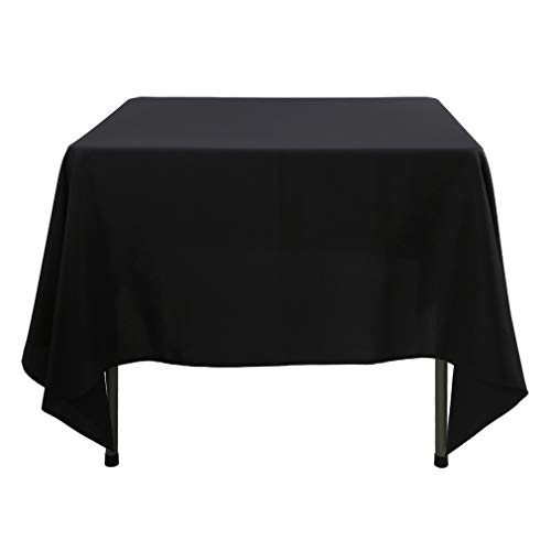 - Waysle 85x85 Inch Square Polyester Tablecloth for Home Wedding Restaurant Party Banquet, Black