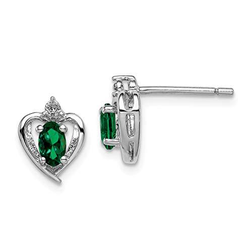 925 Sterling Silver Created Green Emerald Diamond Post Stud Earrings Birthstone May Love Set Fine Jewelry For Women Gift Set ()
