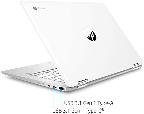 "2021 HP X360 2 in 1 Laptop 14"" Touch-Screen HD Chromebook, Intel Celeron N4000, 4GB Memory, 32GB eMMC Storage, USB Type C, WiFi, Webcam, Chrome OS, Ceramic White + 32GB TiTac Card"