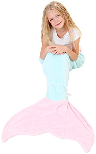 Mermaid Tail Blanket - Soft and Warm Polar Fleece Fabric Blanket by Cuddly Blankets for Kids and Teens (Ages 3-12) (Aqua and Light (Barbie From Toy Story 3 Costume)