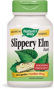 Nature's Way Slippery Elm Bark, 400 mg, 100 Capsules (Pack of 2)