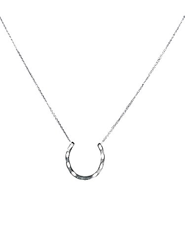 Laura Elizabeth Silver Horseshoe Necklace (Handcrafted Lady Luck Charm Pendant, 18' Double Chain, 2' Extender)