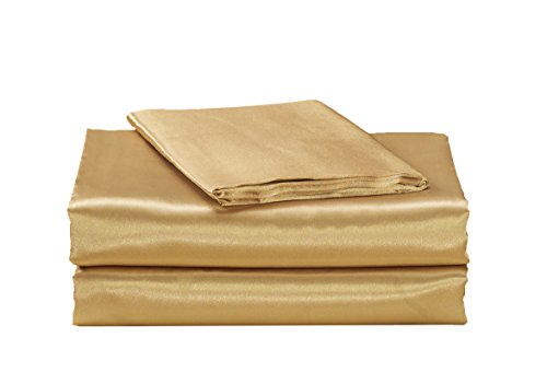 - EliteHomeProducts EHP Super Soft and Silky Satin Sheet Set (Solid/Deep Pocket) (Queen, Gold)