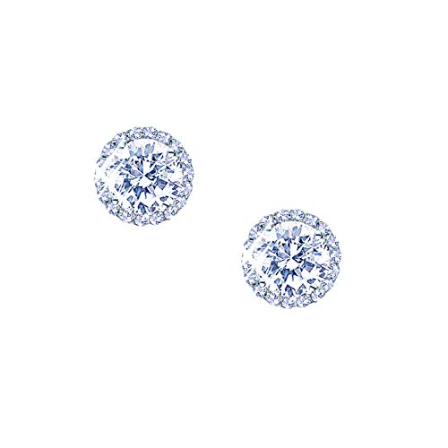 (Landau Jewelry Women's Earrings - Deluxe Round Stud Earring - Premium Quality Finish and Stones - Elegant Design - Original Gift for Women, Girls -)