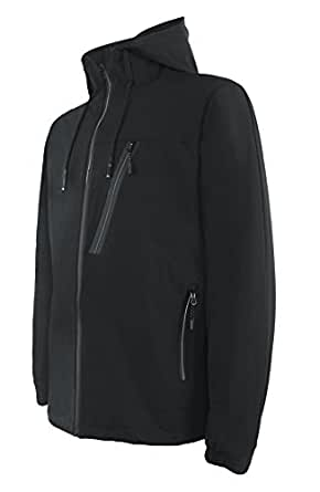 Men's Hooded Mountain Sports Jacket Windproof Insulated Outerwear size xl (Black)