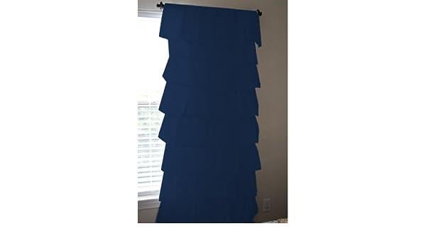 Amazon 350 Tread Count Navy Blue 2 Ruffle Curtains Window Panels Drapes 100 Egyptian Cotton 54 X 84 40 Home Kitchen