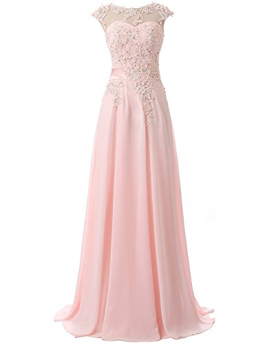 Belle House Sheer Neck Appliques Bridesmaid Evening Gowns Long Beaded Prom Dress