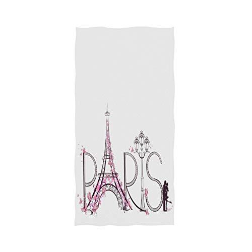 Naanle Chic - Toalla de Mano Decorativa, diseño de la Torre Eiffel de París Francesa con Mariposas, Suave, Grande,...