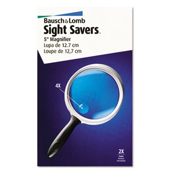 - 2X - 4X Round Handheld Magnifier w/Acrylic Lens, 5amp;quot; diameter - Sold As 1 Each - Round magnifier has stabilizing edge for two-hand positioning. ()