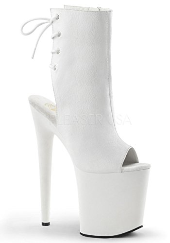 Pleaser Para Leather Botas Wht wht Mujer Faux 41 r575T1ywYq