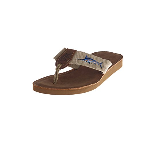Ocean Rider Leather Flip Flops with Embroidered Tan Webbing Straps Handmade in the USA - Marlin (Men's 11 - US)