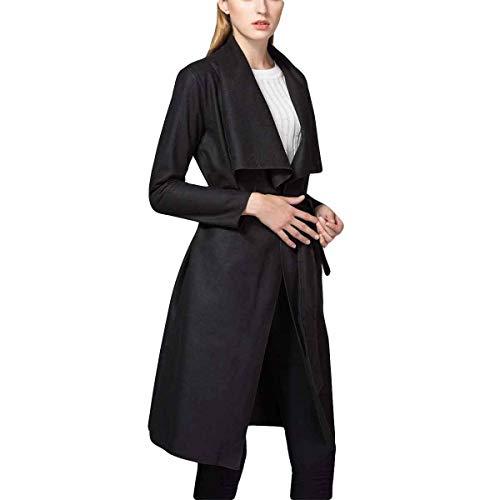 largo Color mediados abrigo Con S tamaño peludo vendaje Black ZFFde Invierno rompevientos cuello delgado irregular volantes corbata vPpnO
