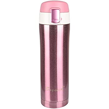 Insulated Stainless Steel Vacuum Flask Travel Coffee Mug Leak Proof Beverage Thermos Bottle 16 Oz,Pink
