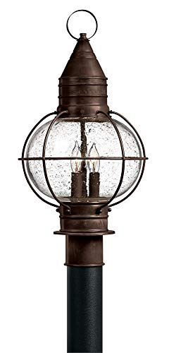 Hinkley 2207SZ Rustic Three Light Post Top from Cape Cod Collection in Bronze/Darkfinish,