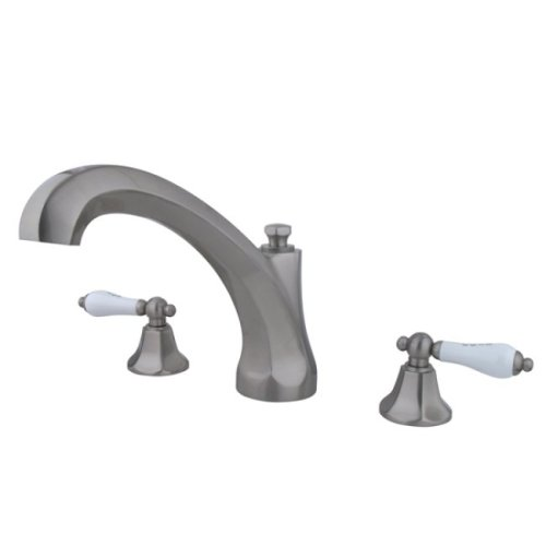 Kingston Brass KS4328PL Metropolitan Roman Tub Filler with Porcelain Lever Handle, Satin Nickel