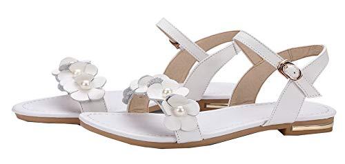 Dress con Heel Agoolar fibbia Pu bianco Solid Gmxlb010537 Women Sandals Mini xI0w0XU