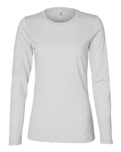 Bella Ladies Long Sleeve Crew Neck Jersey T-Shirt, White, Medium
