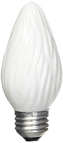 G E LIGHTING 75338 Medium Base Flame Shaped Decorative Bulb, 25W/120V, White Finish, 2-Pack