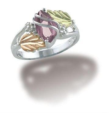 Landstroms Black Hills Gold June Birthstone Ring in Sterling Silver with marquise shaped 10 X 5 MM synthetic Alexandrite Gemstone - Ring Size 4