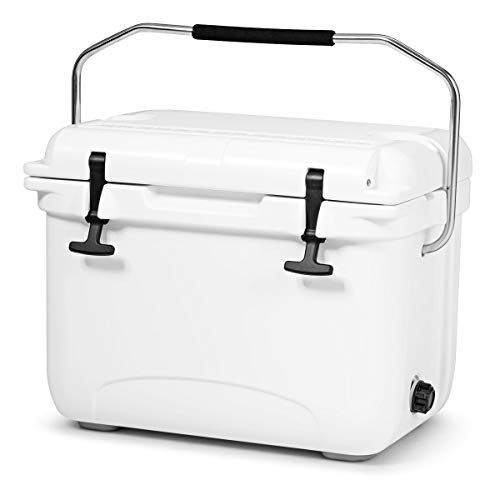 Goplus 22 Quart Cooler, Portable Ice Chest, Insulated Box Cooler, 4-Day Ice Retention 30 Cans Capacity Camping Cooler with Carrying Handle for Camping, Fishing, Outdoor Activities (White)