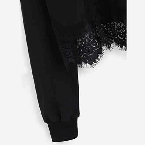 Noir Chemisier Chic Bringbring DentelleManches Sweat Longues Femme Sweatshirt Capuche gz6qwq8x
