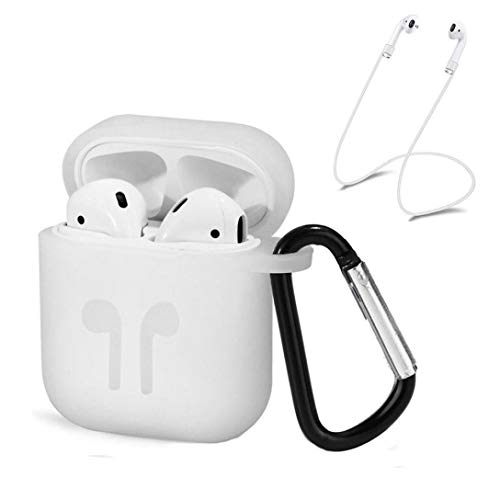 Price comparison product image for Apple AirPods,  Owill Silicone Cover Skin Case w / Carabiner+Anti-Lost Earphone Strap (White)