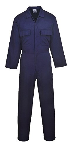 Portwest Men's Euro Work Boilersuit Coverall Overall Stud Front Elastic Waist Workwear Medium Tall Navy