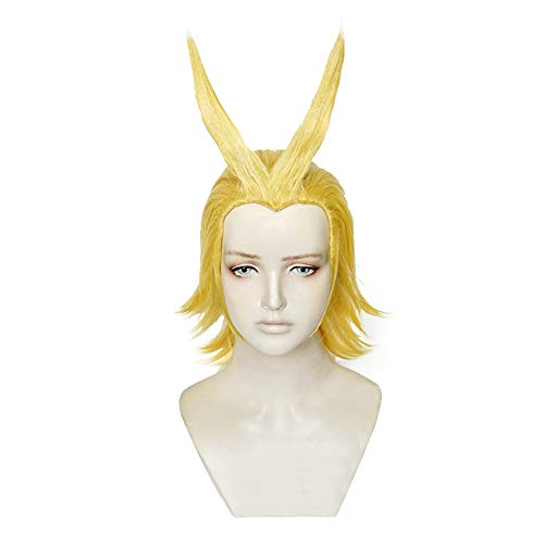 Xingwang Queen Anime Short Blonde Yellow Cosplay Wig Men Boys' Party Wigs for Halloween Christmas (Need to style) -