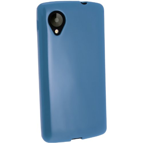 (iGadgitz Blue Glossy Durable Crystal Gel Skin TPU Case Cover for LG Google Nexus 5 LG-D820 LG-D821 4G LTE 16/32GB Android Smartphone + Screen Protector)