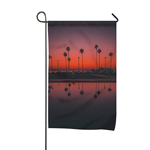 BYUII Home Decor Outdoor Flag Palms Sunset San Diego USA Reflection Double Sided Garden Flag, House Yard Flags, 16 x 30 Inch Spring Summer Gift ()