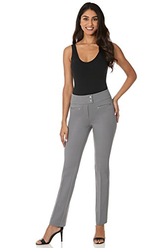Rekucci Women's Secret Figure Pull-On Knit Straight Pant w/Tummy Control (8SHORT,Silver)