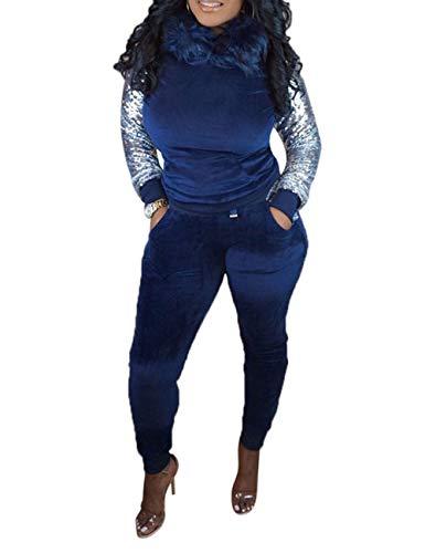 (Women's 2 Piece Sequin Long Sleeve Fleece Hoodie+Long Bodycon Pants Outfit Blue X-Large)
