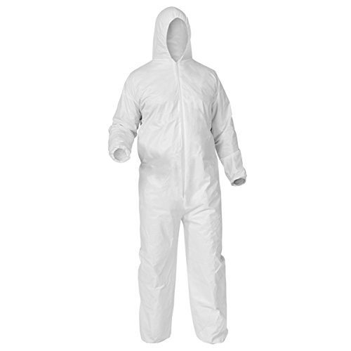 - KleenGuard A35 Liquid & Particle Protection Coveralls, Hood, Elastic Wrist & Ankles, Large