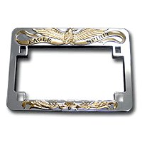 heavy chrome gold eagle license plate frame for motorcycles
