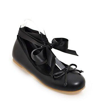 Cómodo y elegante soporte de zapatos de las mujeres pisos bailarina PU vestido de primavera verano otoño Casual talón plano con cordones negro rosa Leopardo amarillo
