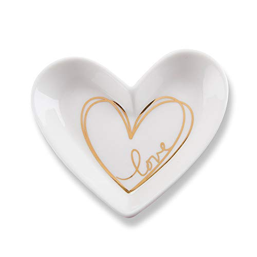 - Kate Aspen 23192NA Heart Shaped White Trinket, Jewelry Dish Party Favor, Gold