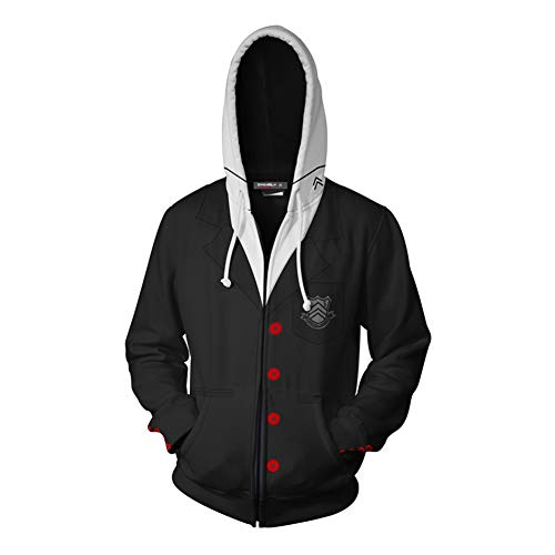 Persona 5 Akira Kurusu Hoodie Joker Protagonist Cosplay Costume Casual Zip Up Jacket Sweatshirt -